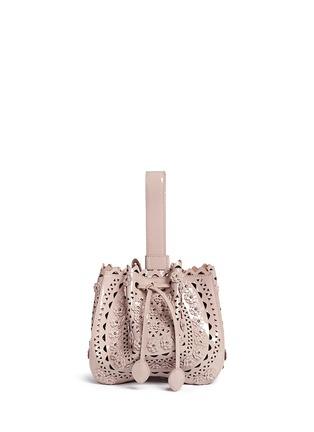 Azzedine Alaïa-'Vienne' mini floral stud appliqué patent leather bucket bag