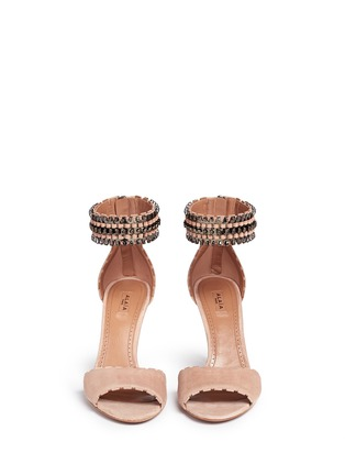 Front View - Click To Enlarge - Alaïa - Metal chain cuff suede sandals
