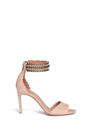 Main View - Click To Enlarge - Alaïa - Metal chain cuff suede sandals