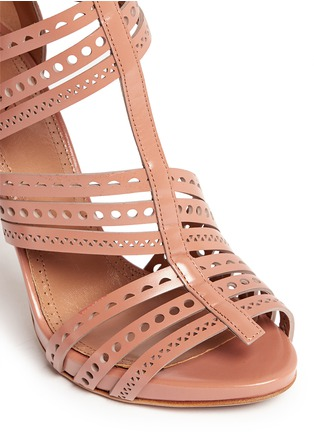 Detail View - Click To Enlarge - Alaïa - Geometric lasercut caged leather sandals