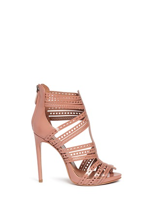 Main View - Click To Enlarge - Alaïa - Geometric lasercut caged leather sandals