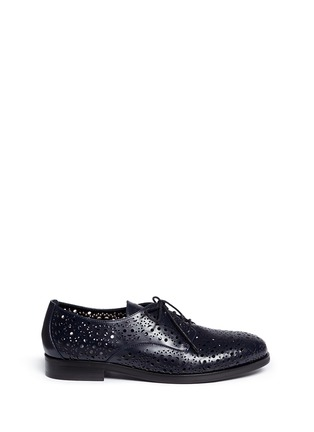 Main View - Click To Enlarge - Alaïa - Geometric lasercut perforated leather Derbies