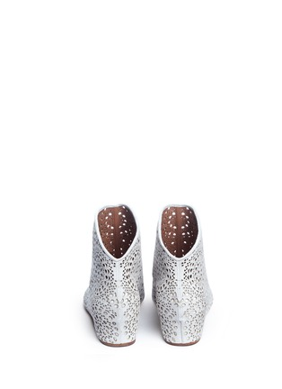 Back View - Click To Enlarge - Alaïa - Geometric lasercut perforated suede ankle boots
