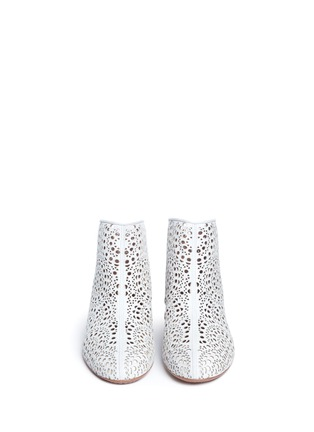 Front View - Click To Enlarge - Alaïa - Geometric lasercut perforated suede ankle boots
