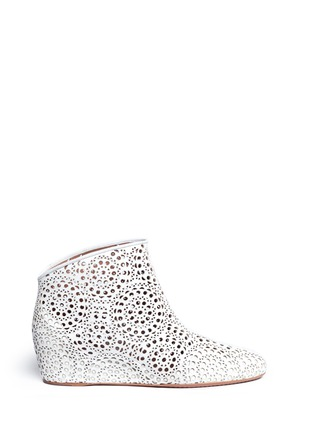 Main View - Click To Enlarge - Alaïa - Geometric lasercut perforated suede ankle boots