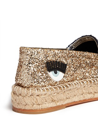 Detail View - Click To Enlarge - Chiara Ferragni - 'Natalie' eye wink appliqué glitter espadrilles