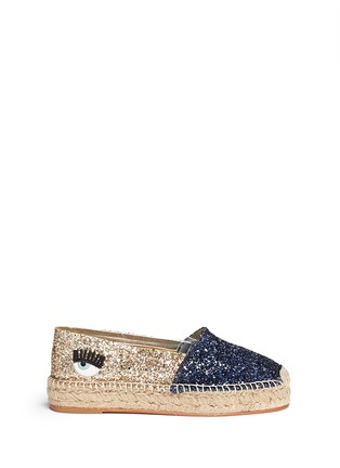 Main View - Click To Enlarge - Chiara Ferragni - 'Natalie' eye wink appliqué glitter espadrilles