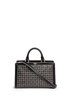 TORY BURCH'Fret-T' cutout leather satchel