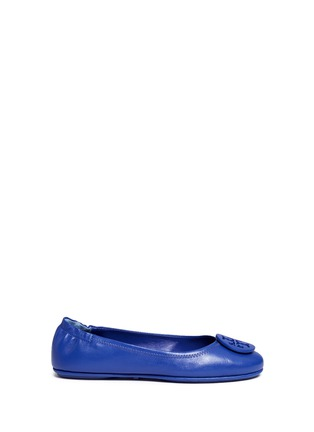 Main View - Click To Enlarge - Tory Burch - 'Minnie Travel' leather ballet flats