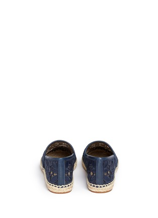 Back View - Click To Enlarge - Tory Burch - 'Rhea' embroidered leather espadrille slip-ons