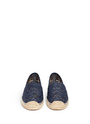 Front View - Click To Enlarge - Tory Burch - 'Rhea' embroidered leather espadrille slip-ons