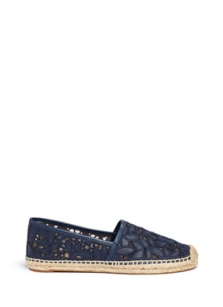 Main View - Click To Enlarge - Tory Burch - 'Rhea' embroidered leather espadrille slip-ons