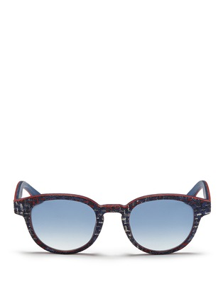 Main View - Click To Enlarge - ISAIA - Fabric effect painted wood round sunglasses