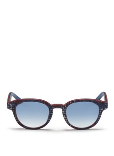 ISAIA Fabric effect painted wood round sunglasses