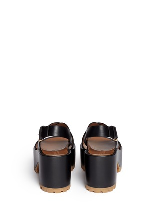 Back View - Click To Enlarge - Marni - Cross vamp leather slingback wedge sandals