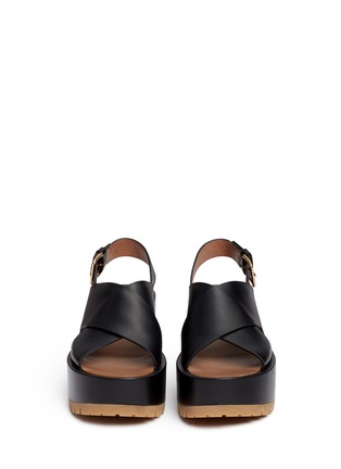 Front View - Click To Enlarge - Marni - Cross vamp leather slingback wedge sandals