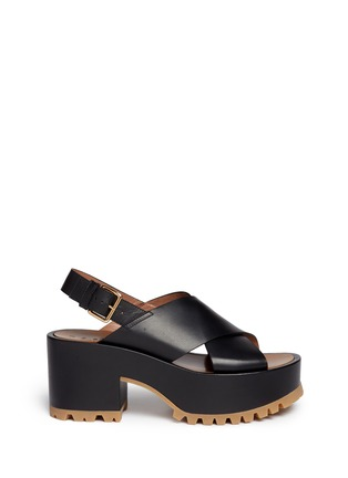 Main View - Click To Enlarge - Marni - Cross vamp leather slingback wedge sandals