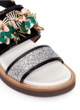 Detail View - Click To Enlarge - Marni - Floral embellished glitter fussbett sandals