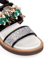 Floral embellished glitter fussbett sandals