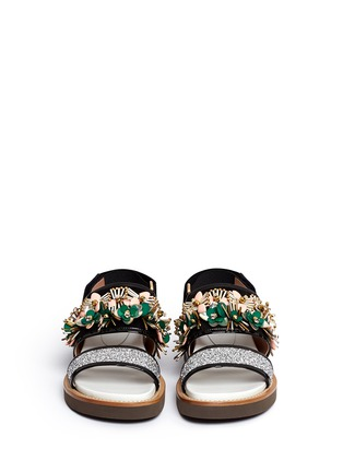 Front View - Click To Enlarge - Marni - Floral embellished glitter fussbett sandals