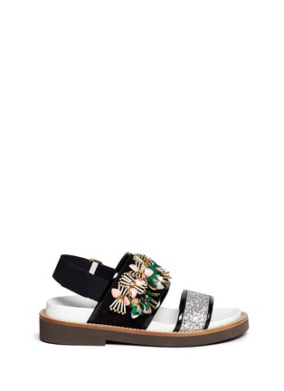 Main View - Click To Enlarge - Marni - Floral embellished glitter fussbett sandals