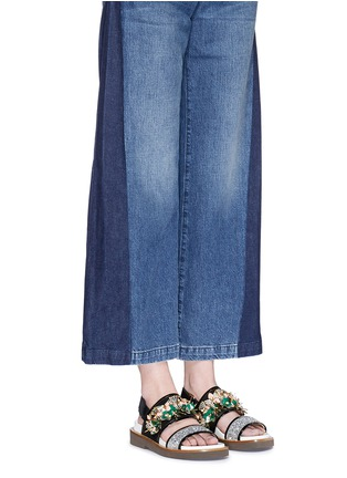 Figure View - Click To Enlarge - Marni - Floral embellished glitter fussbett sandals