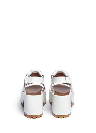 Back View - Click To Enlarge - Marni - 'Zeppa' kiltie flap leather platform wedge sandals