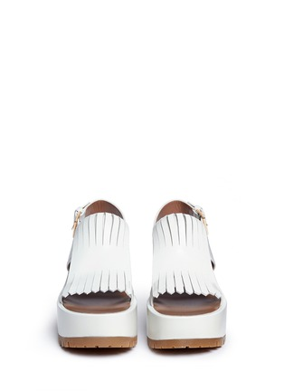 Front View - Click To Enlarge - Marni - 'Zeppa' kiltie flap leather platform wedge sandals