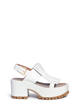 Main View - Click To Enlarge - Marni - 'Zeppa' kiltie flap leather platform wedge sandals