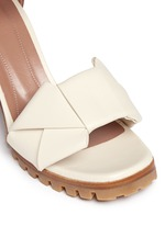Origami bow lug sole leather sandals