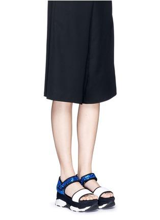 模特儿示范图 - 点击放大 - MARNI - 网眼亮片搭带厚底凉鞋
