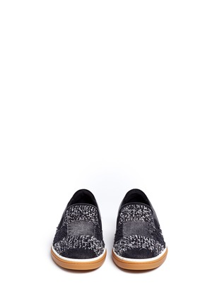 Front View - Click To Enlarge - Jimmy Choo - 'Grove' check frayed denim skate slip-ons