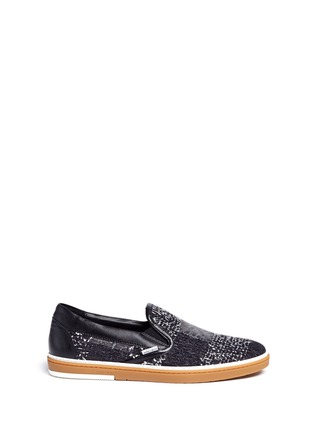 Main View - Click To Enlarge - Jimmy Choo - 'Grove' check frayed denim skate slip-ons