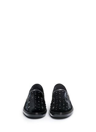 Front View - Click To Enlarge - Jimmy Choo - 'Grove' star stud velvet skate slip-ons