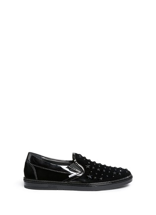 Main View - Click To Enlarge - Jimmy Choo - 'Grove' star stud velvet skate slip-ons