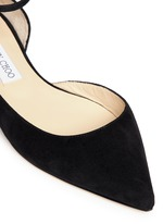'Lucy' ankle strap suede d'Orsay flats