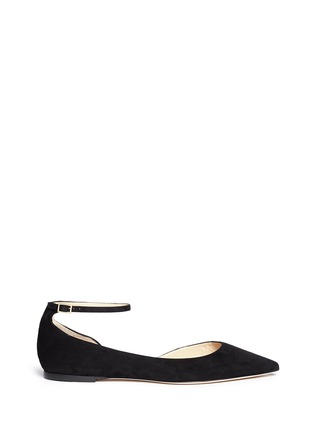 Jimmy Choo - 'Lucy' ankle strap suede d'Orsay flats