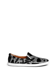 JIMMY CHOO 'Demi' camouflage patent leather skate slip-ons