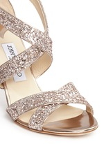 'Louise' coarse glitter crisscross sandals