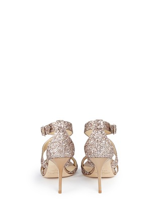 Back View - Click To Enlarge - Jimmy Choo - 'Louise' coarse glitter crisscross sandals