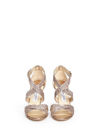 Front View - Click To Enlarge - Jimmy Choo - 'Louise' coarse glitter crisscross sandals