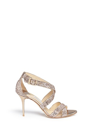 Main View - Click To Enlarge - Jimmy Choo - 'Louise' coarse glitter crisscross sandals