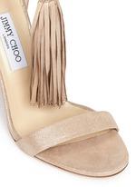 'Viola' tassel shimmer suede sandals