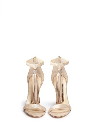 Front View - Click To Enlarge - Jimmy Choo - 'Viola' tassel shimmer suede sandals