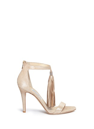 Main View - Click To Enlarge - Jimmy Choo - 'Viola' tassel shimmer suede sandals