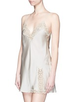 'Petit Macramé' lace silk satin dress slip