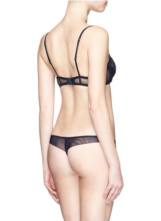 Back View - Click To Enlarge - La Perla - 'Whisper' lace pleat thong