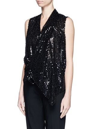Front View - Click To Enlarge - Victoria Beckham - Sequin appliqué asymmetric drape top