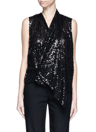 Main View - Click To Enlarge - Victoria Beckham - Sequin appliqué asymmetric drape top