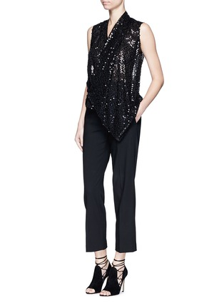 Figure View - Click To Enlarge - Victoria Beckham - Sequin appliqué asymmetric drape top